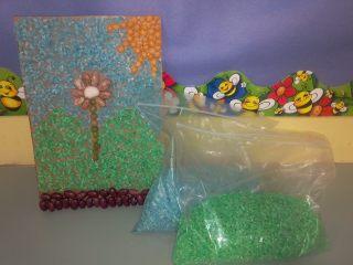 mosaico y arroz de colores